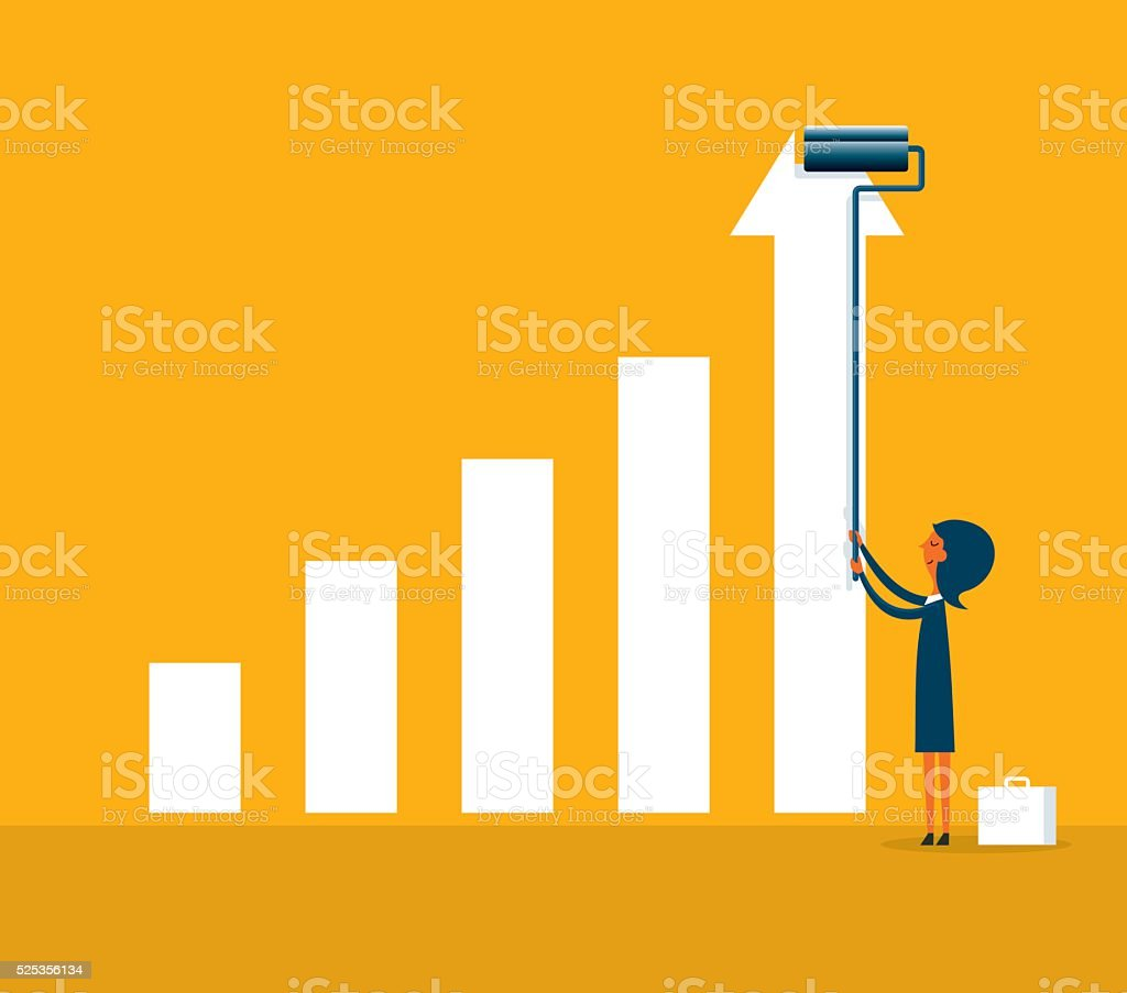 Business financial concept painting graph vector art illustration