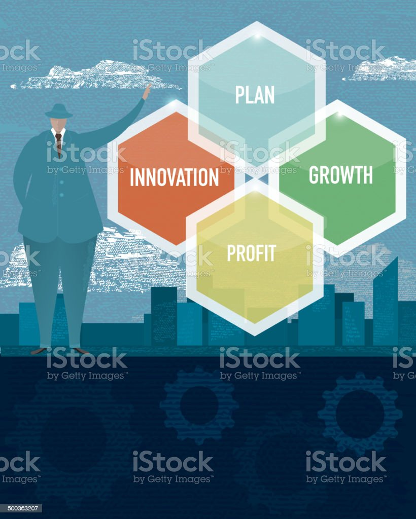 Business financial planning concept with business man vector art illustration