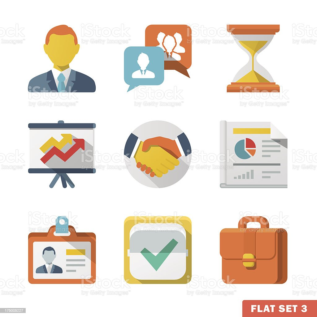 Business Flat icon set royalty-free stock vector art