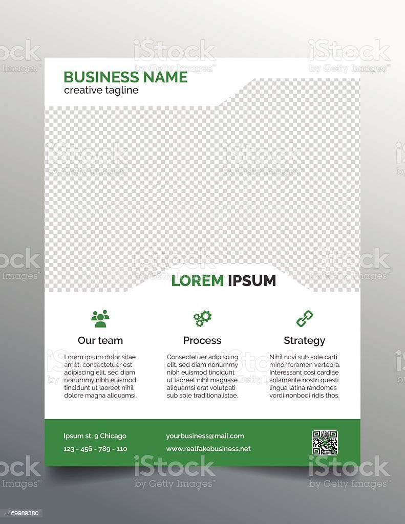 business flyer template simple green design stock vector art 1 credit