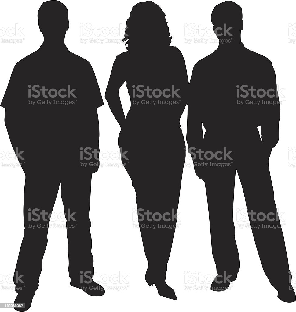 Business Friends Silhouette vector art illustration