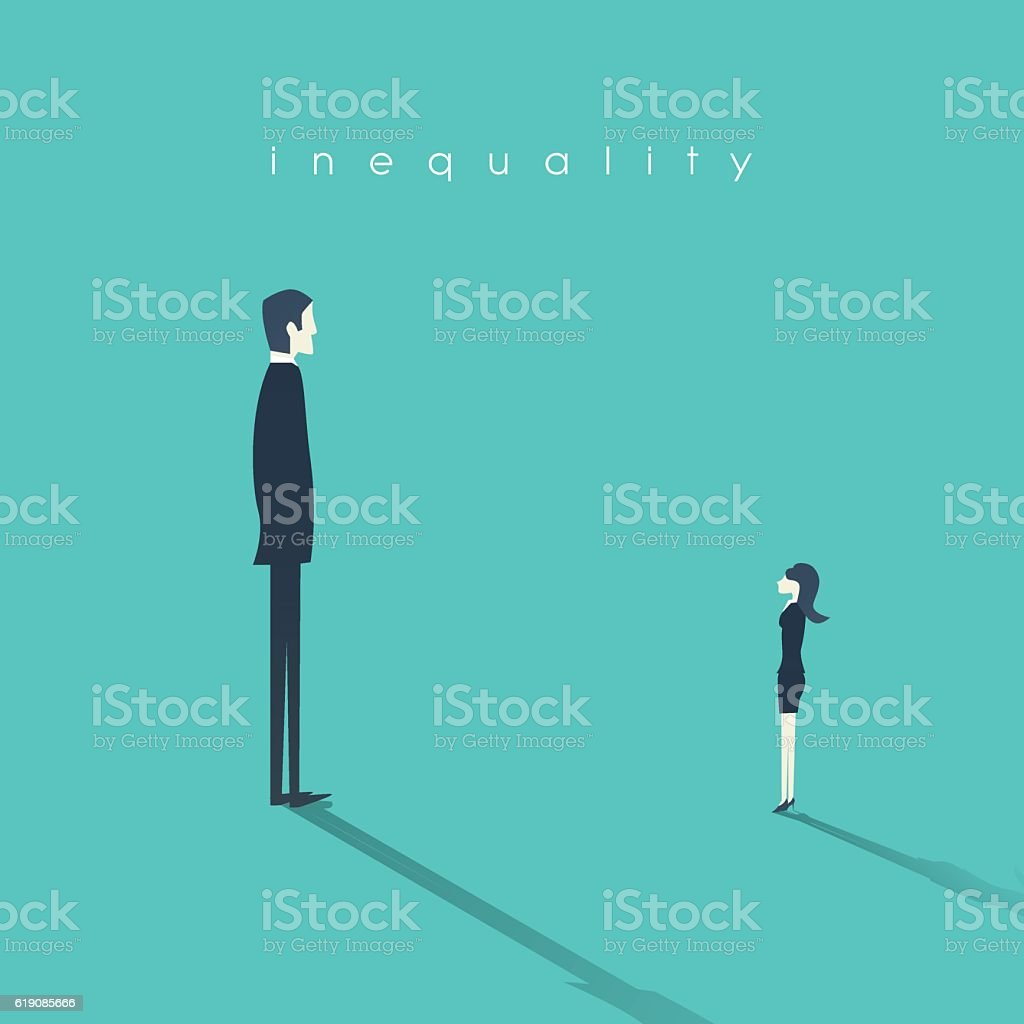Business gender inequality concept with businessman and businesswoman symbol. vector art illustration