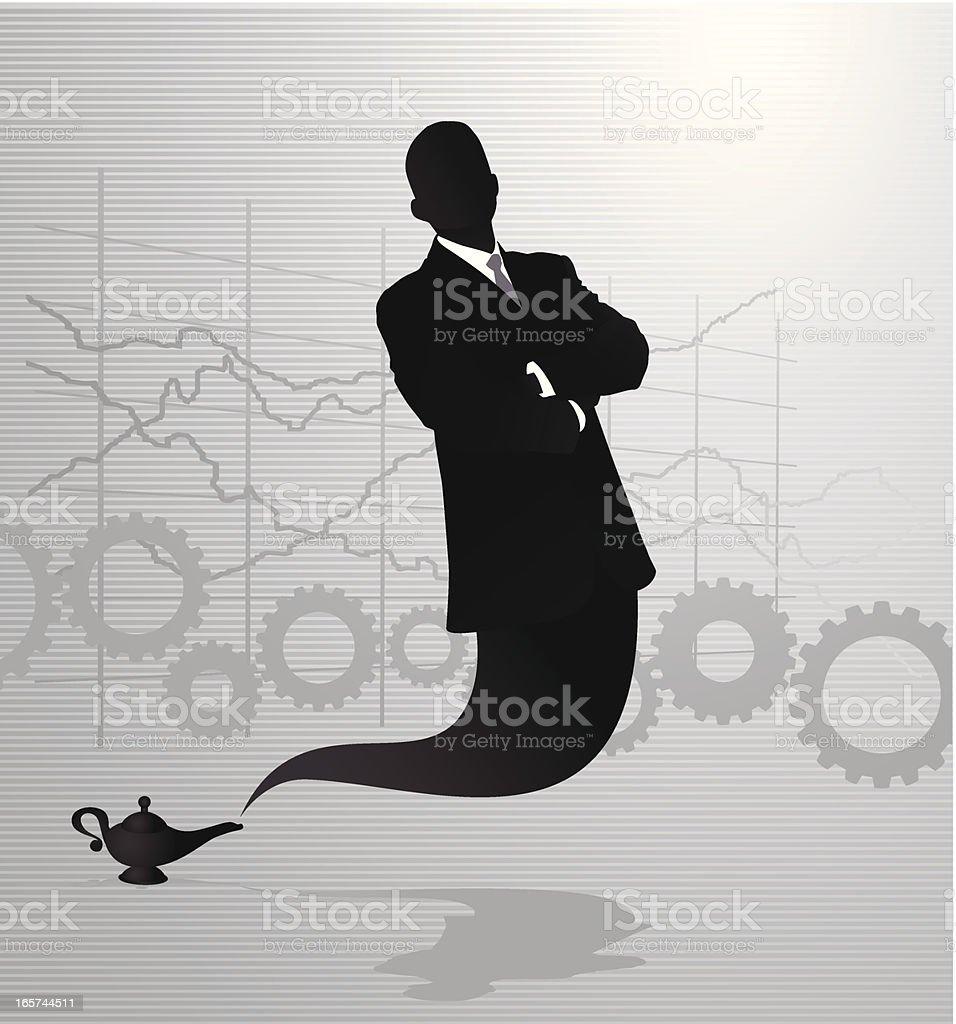 Business Genie vector art illustration