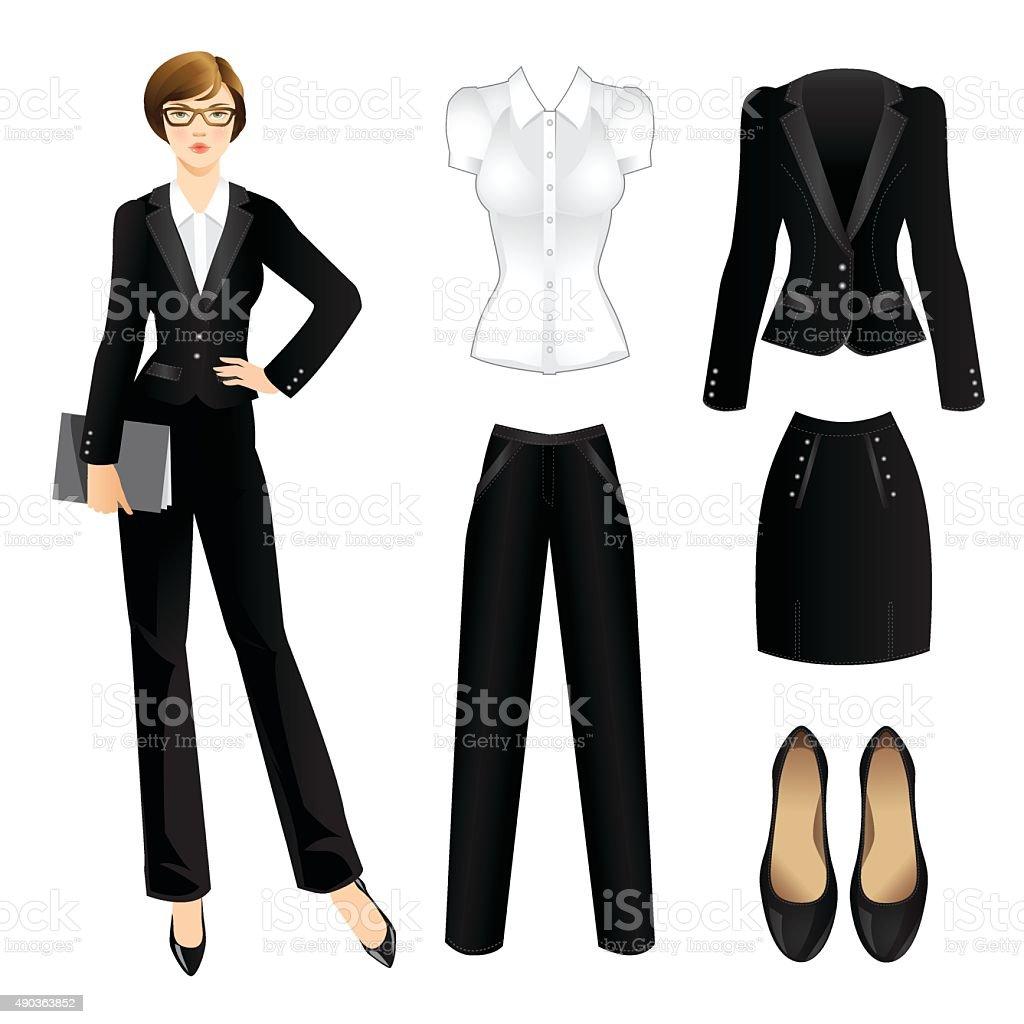 Business girl or professor in official black suit. vector art illustration