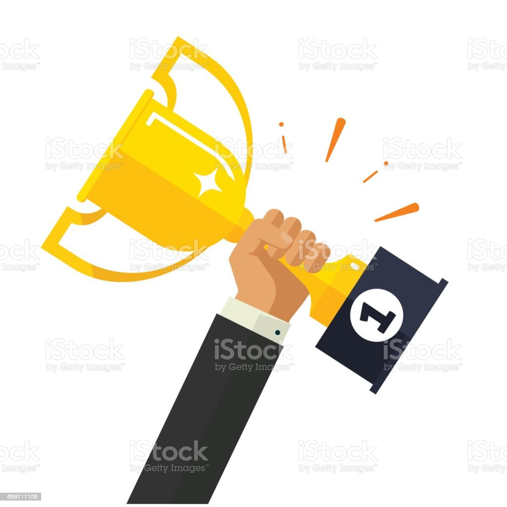 Business goal achievement vector, happy successful businessman holding golden cup award in hand vector art illustration