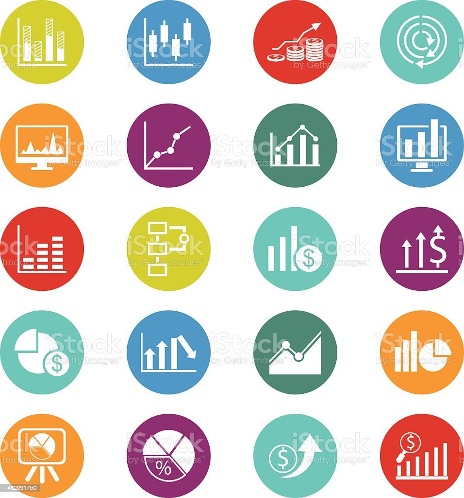 Business Graph icon set vector art illustration