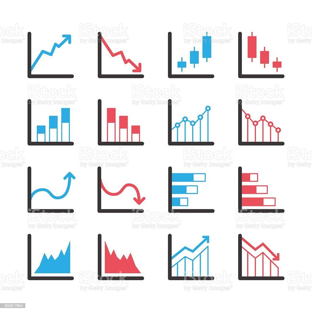 Business graph icon set vector art illustration