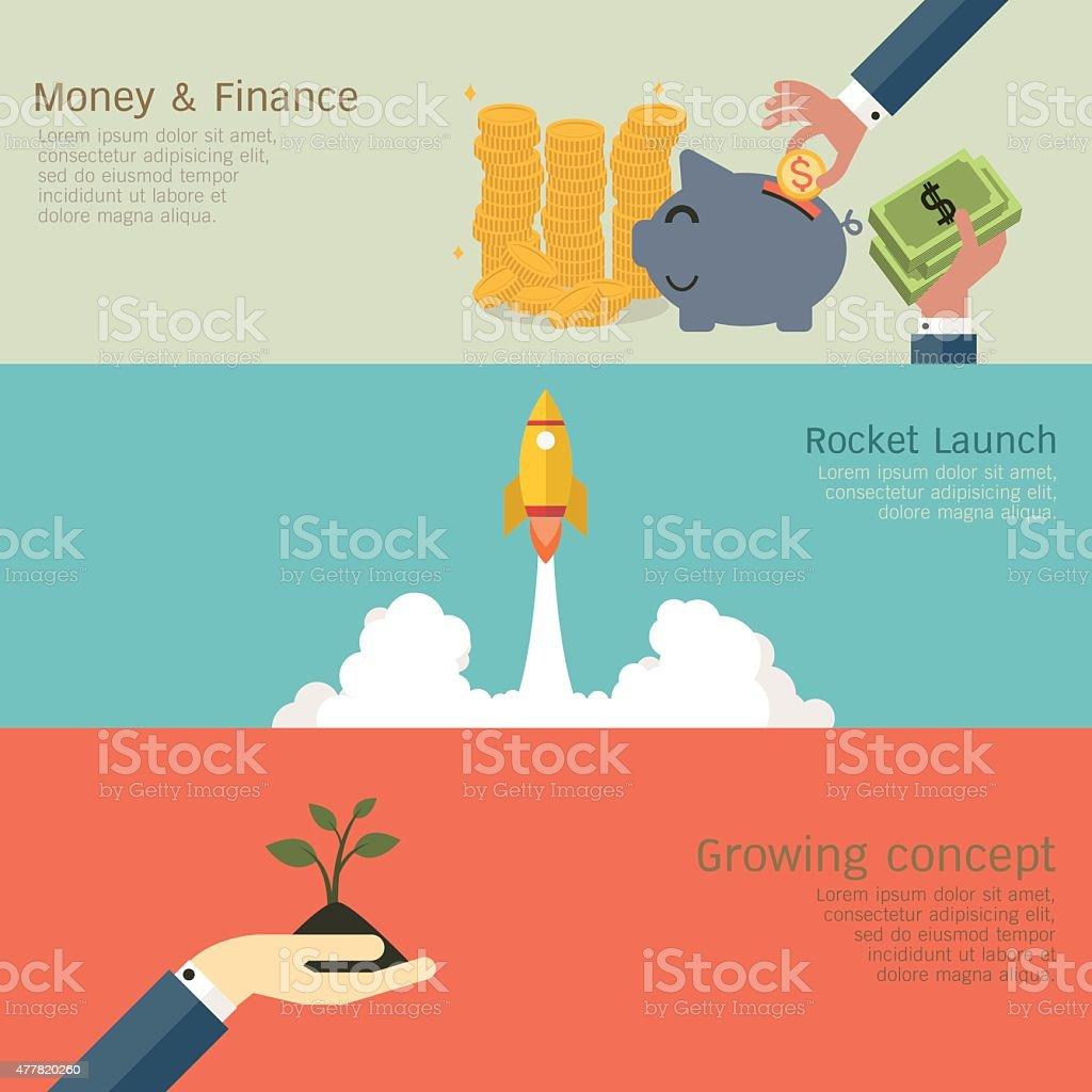 Business growing set vector art illustration