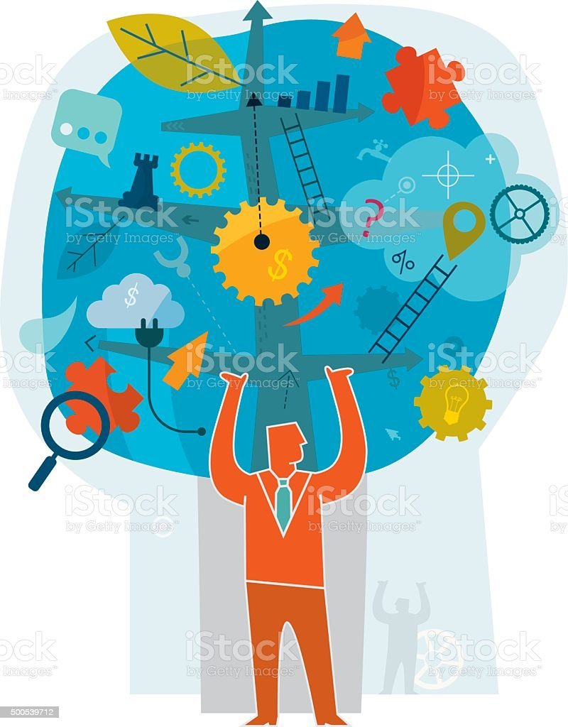 Business Growing vector art illustration
