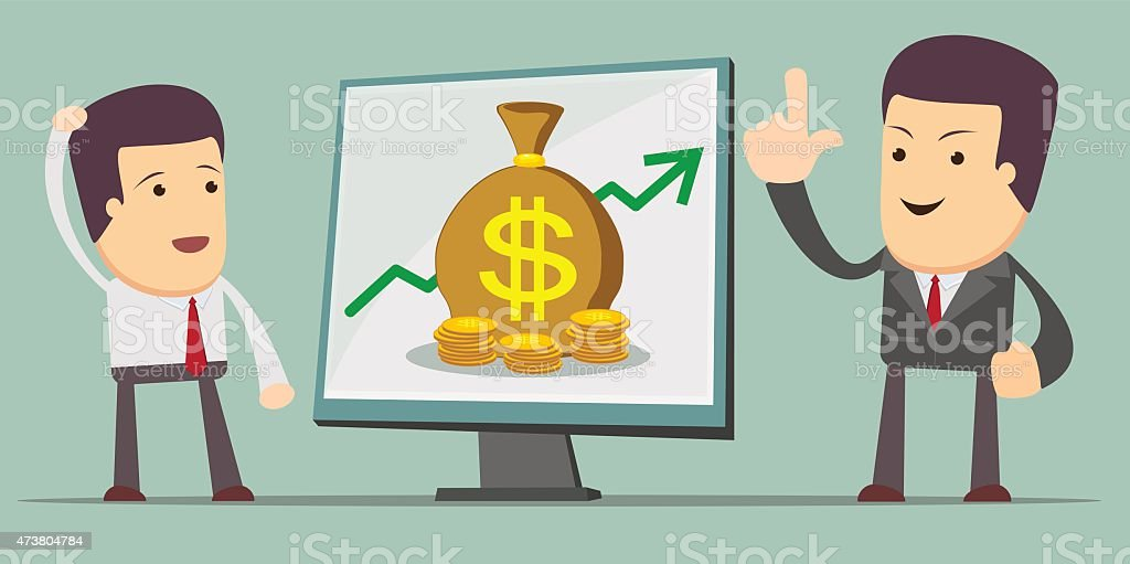 Business Growth Chart - a man at the presentation. Stock vector art illustration