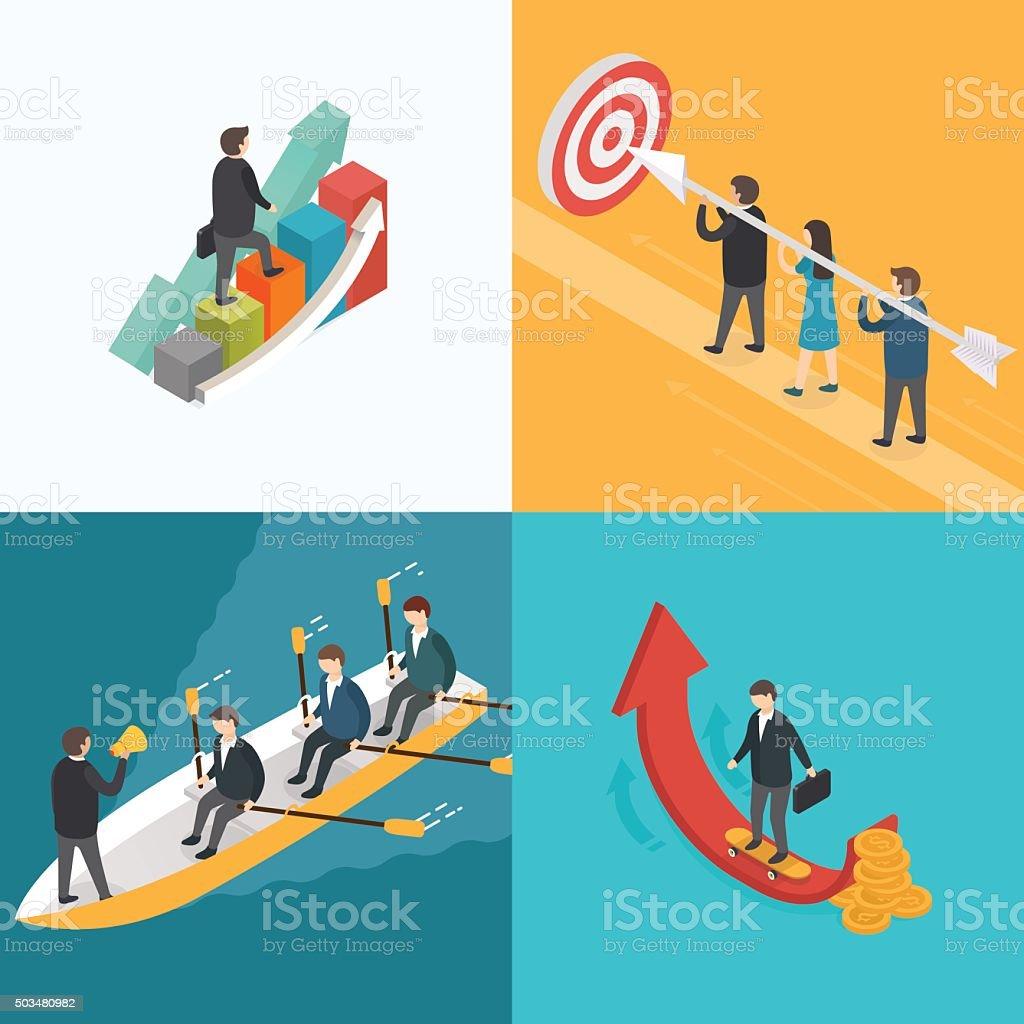Business, Growth, Teamwork, Target concept. vector art illustration
