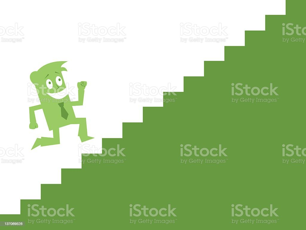 Business Guy Running Up Stairs royalty-free stock vector art