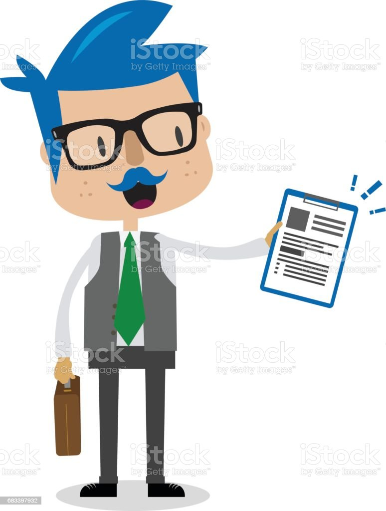 Business Guy With A Report vector art illustration