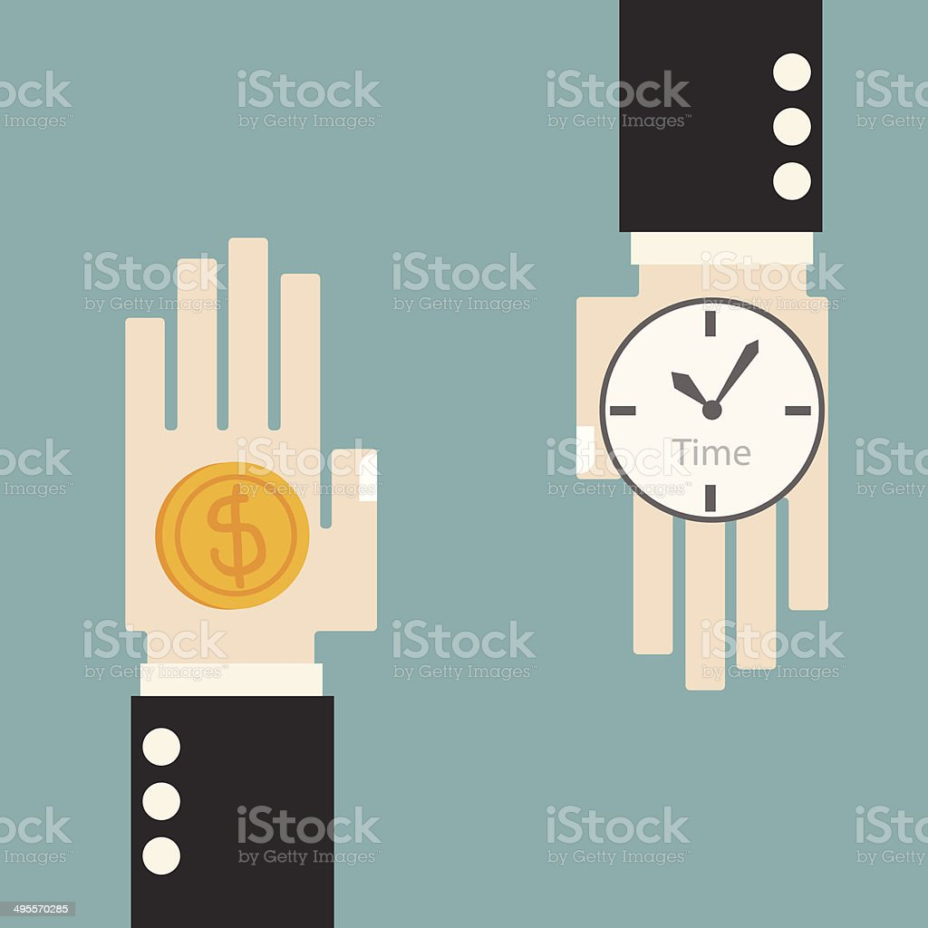 Business hand change time and money concept vector art illustration