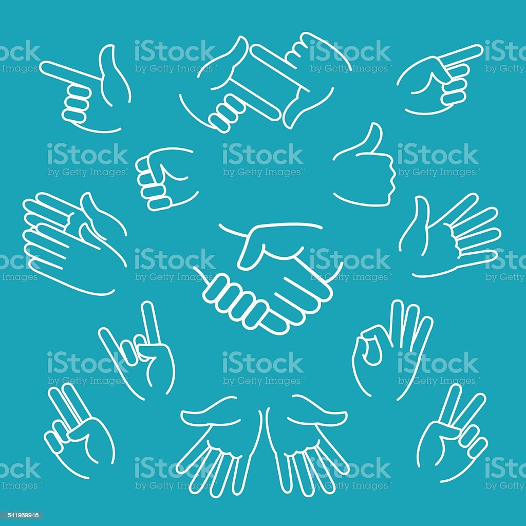 Business hand gestures linear icons vector art illustration