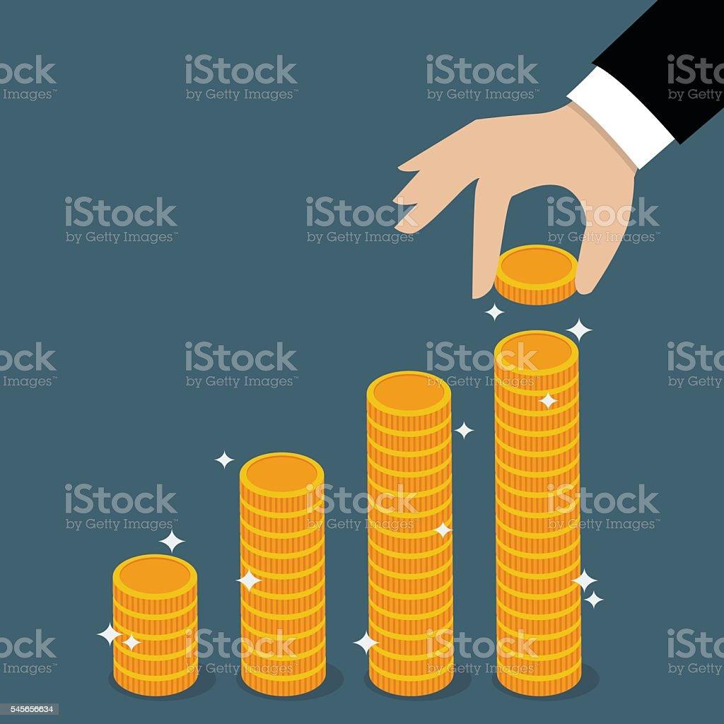 Business hand holding coin. vector art illustration