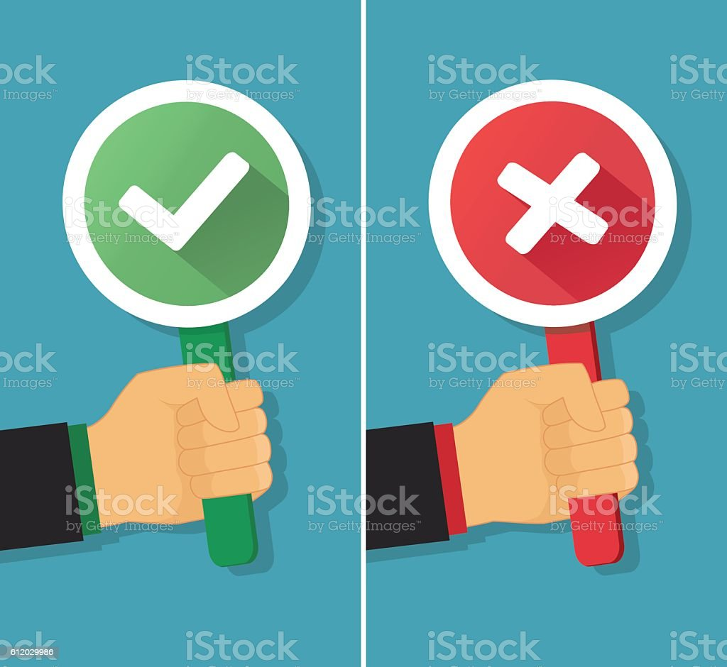 Business hand with true and false sign. Vector illustration vector art illustration