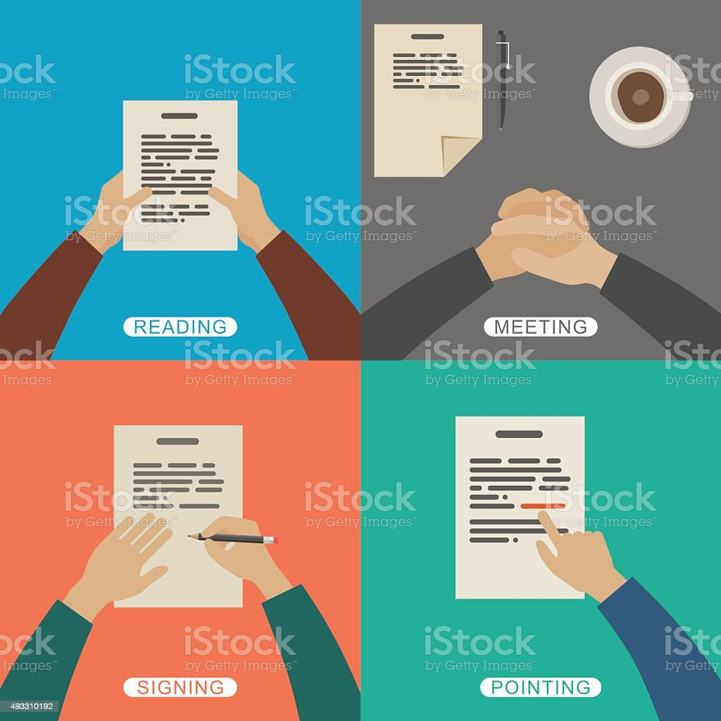 Business hands. vector art illustration