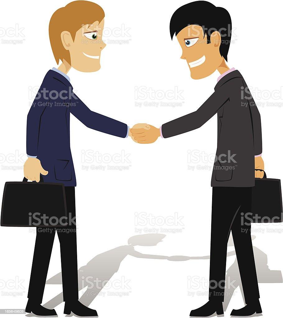 Business Handshake Cartoon royalty-free stock vector art
