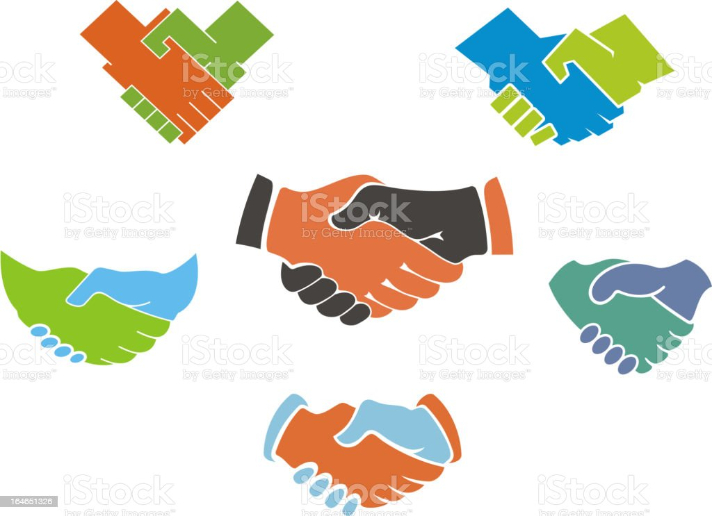 Business handshake symbols and icons royalty-free stock vector art
