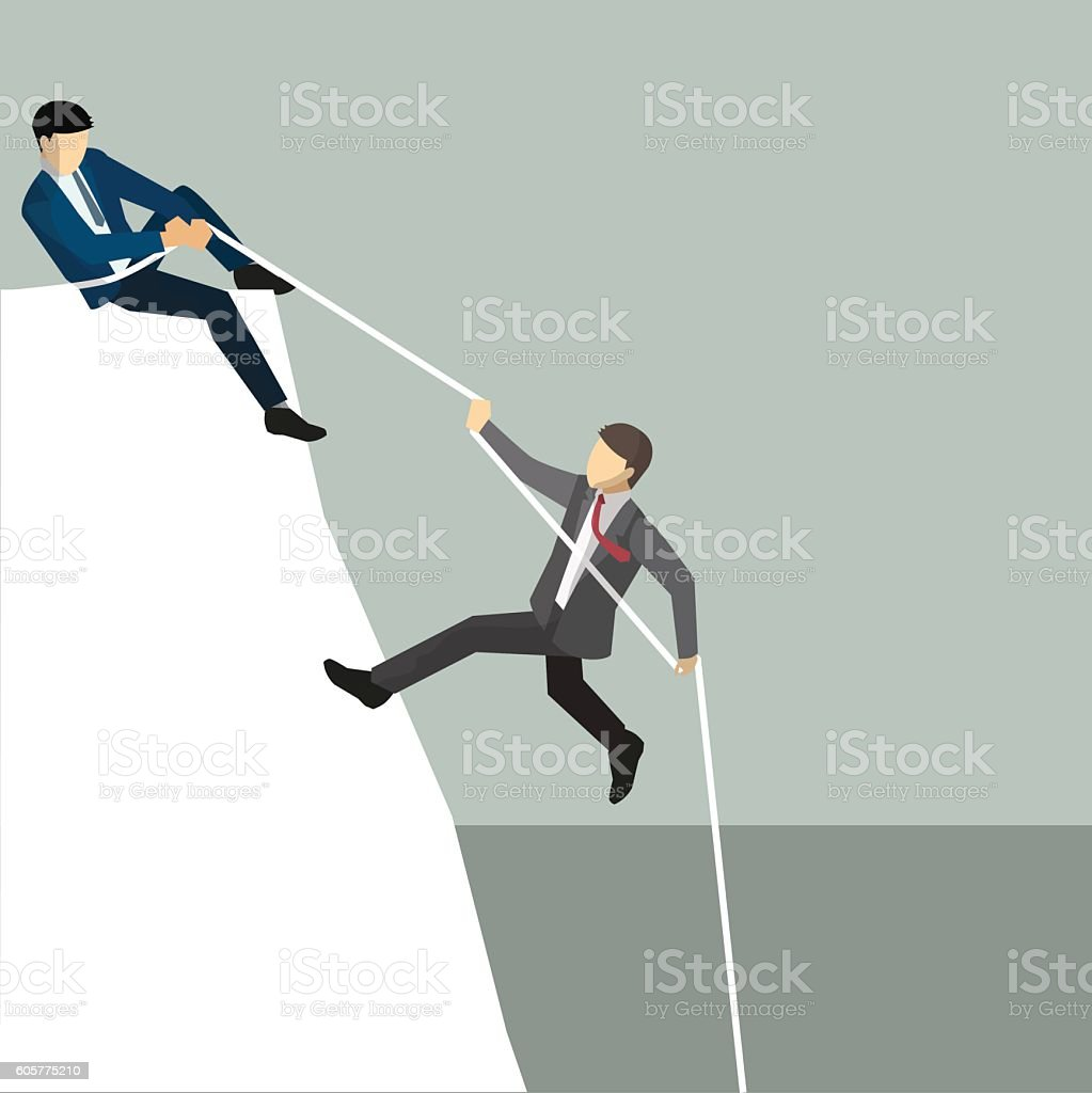 Business help, isometric business character people vector art illustration