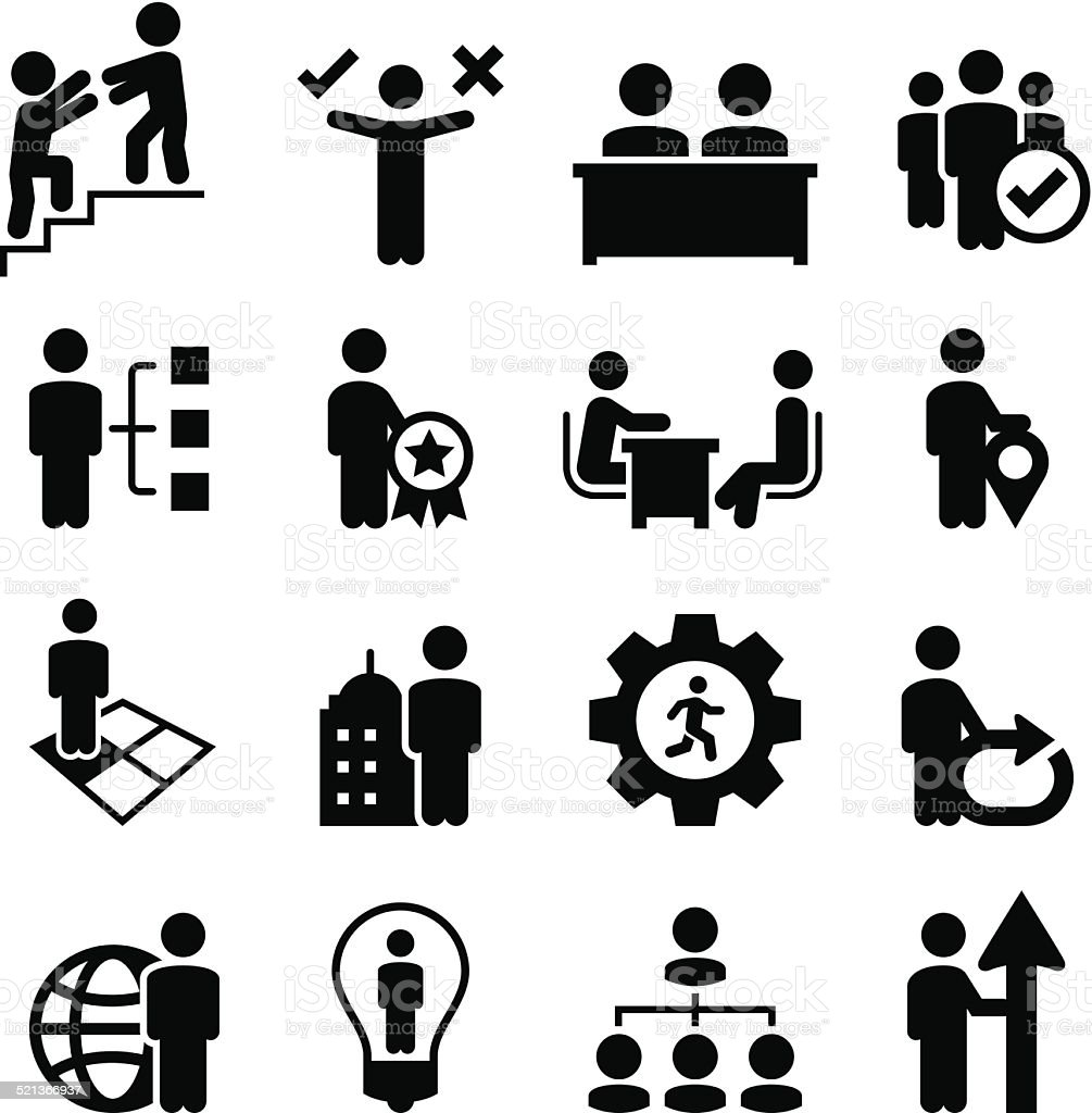 Business Human Resources Icons - Black Series vector art illustration