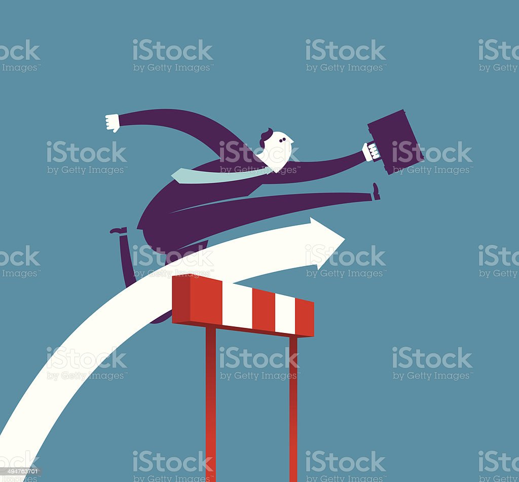 Business hurdler vector art illustration