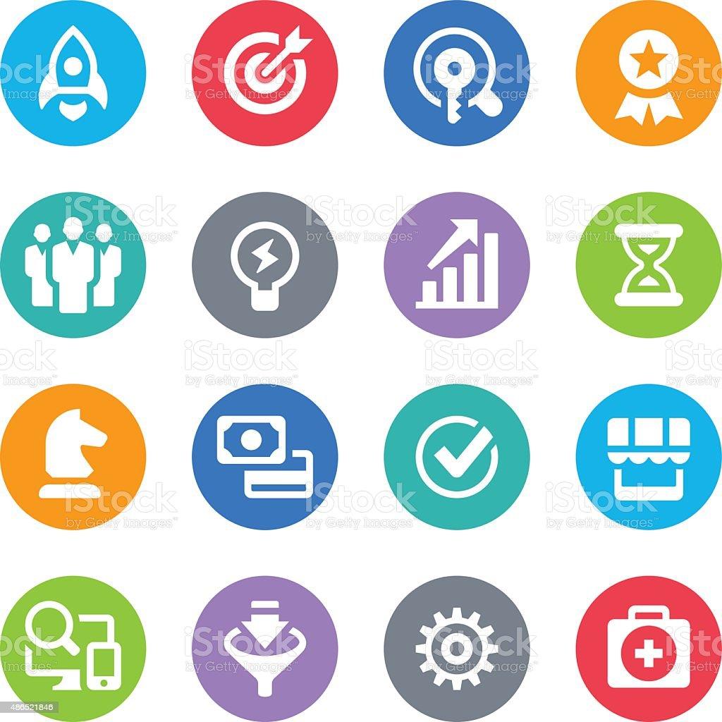 Business Icon Set - Circle Illustrations vector art illustration
