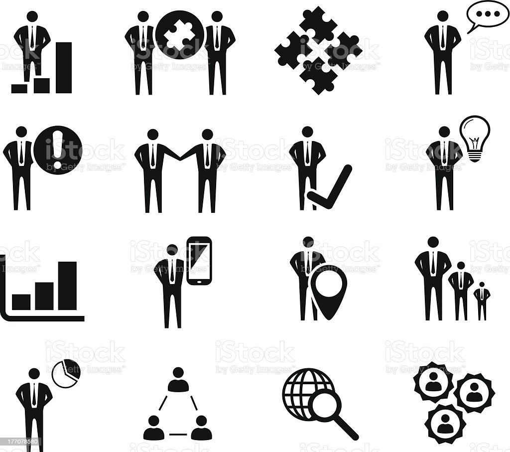Business icon set isolated on white vector silhouettes royalty-free stock vector art