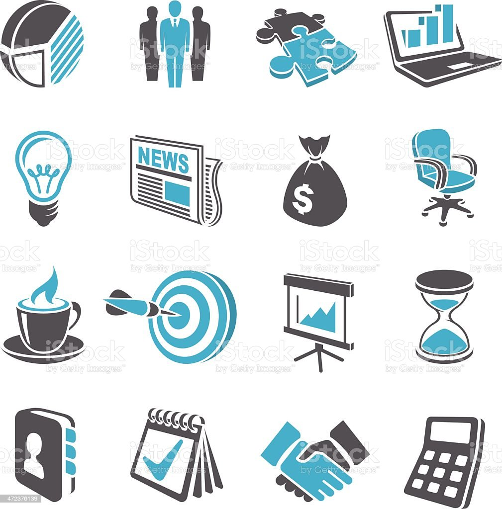 3D Business Icon Set royalty-free stock vector art