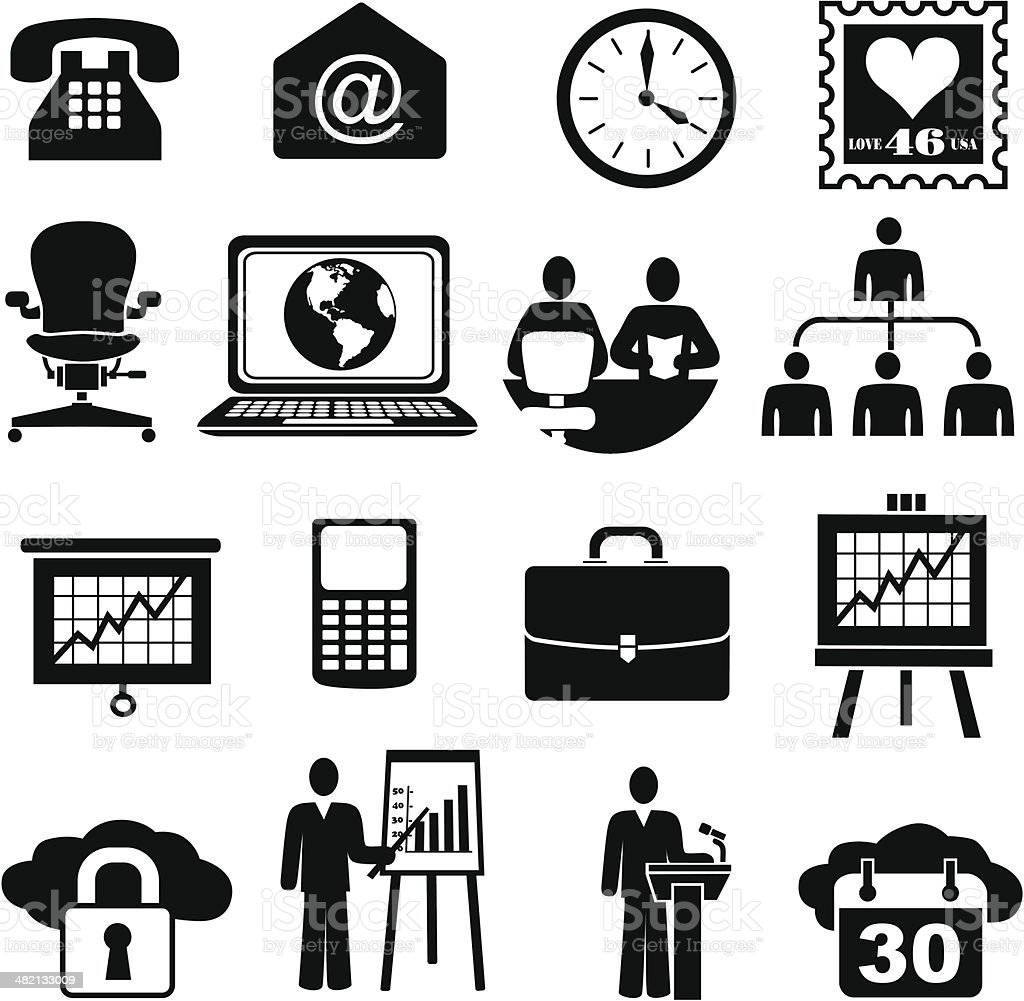 business icons and design elements vector art illustration
