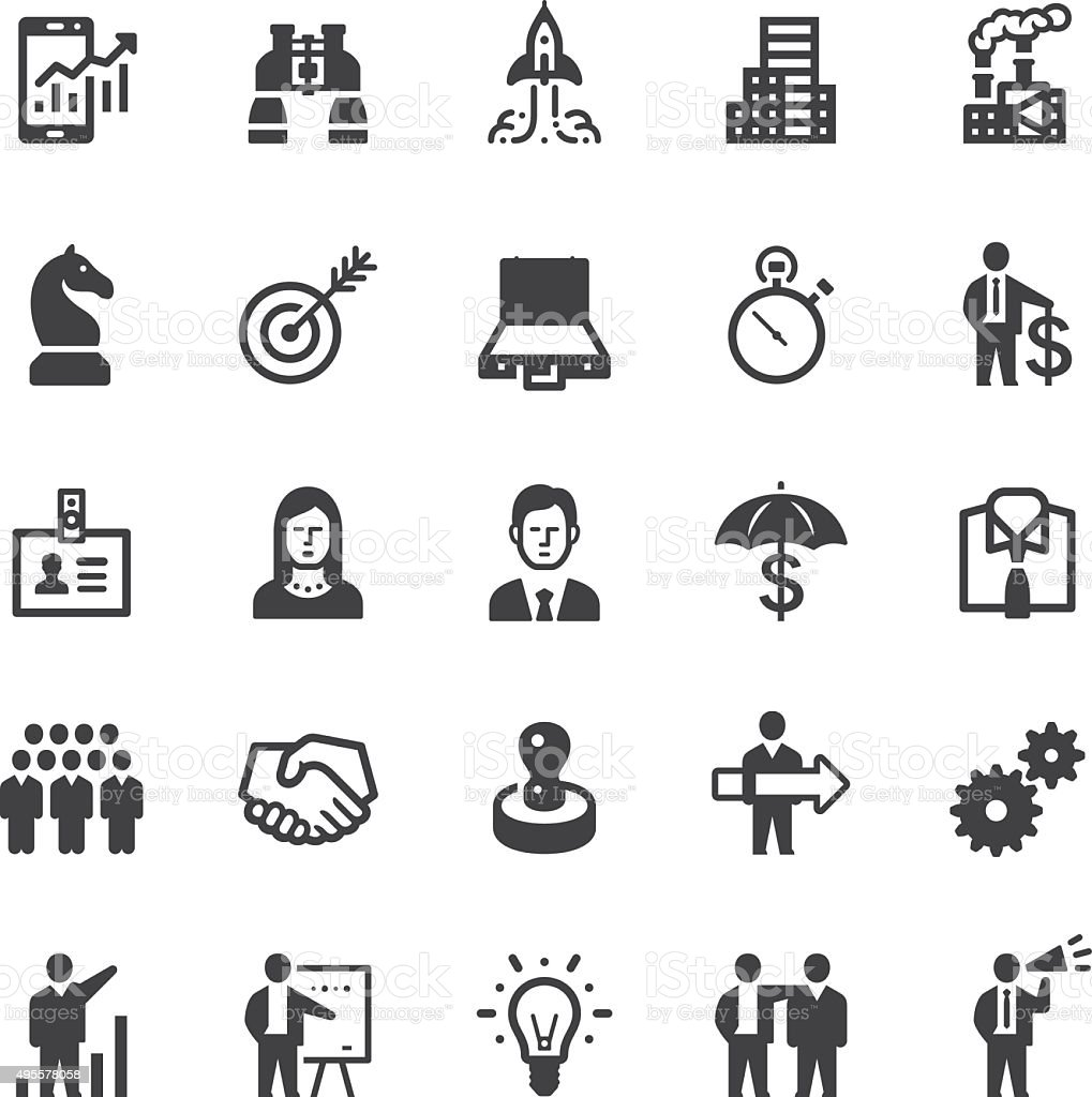 Business icons - Black series vector art illustration