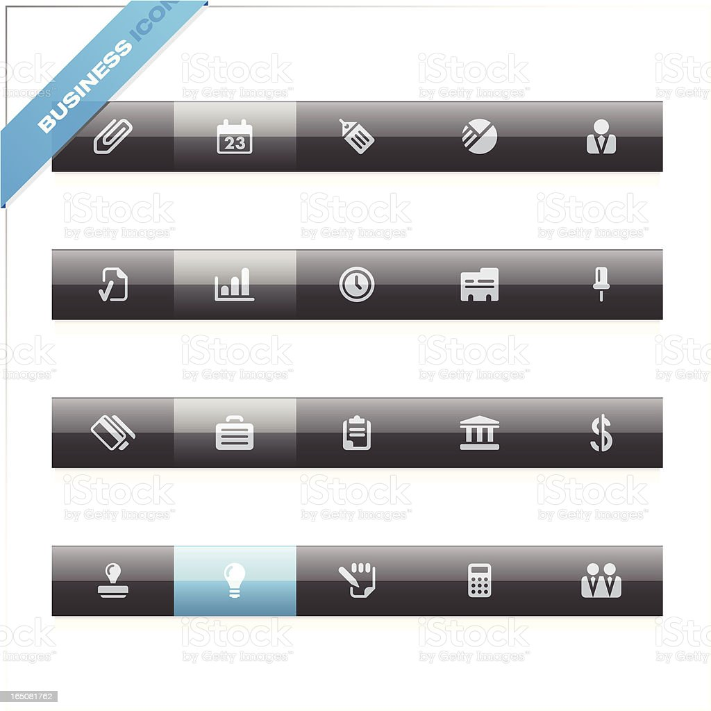 Business icons   blue label royalty-free stock vector art