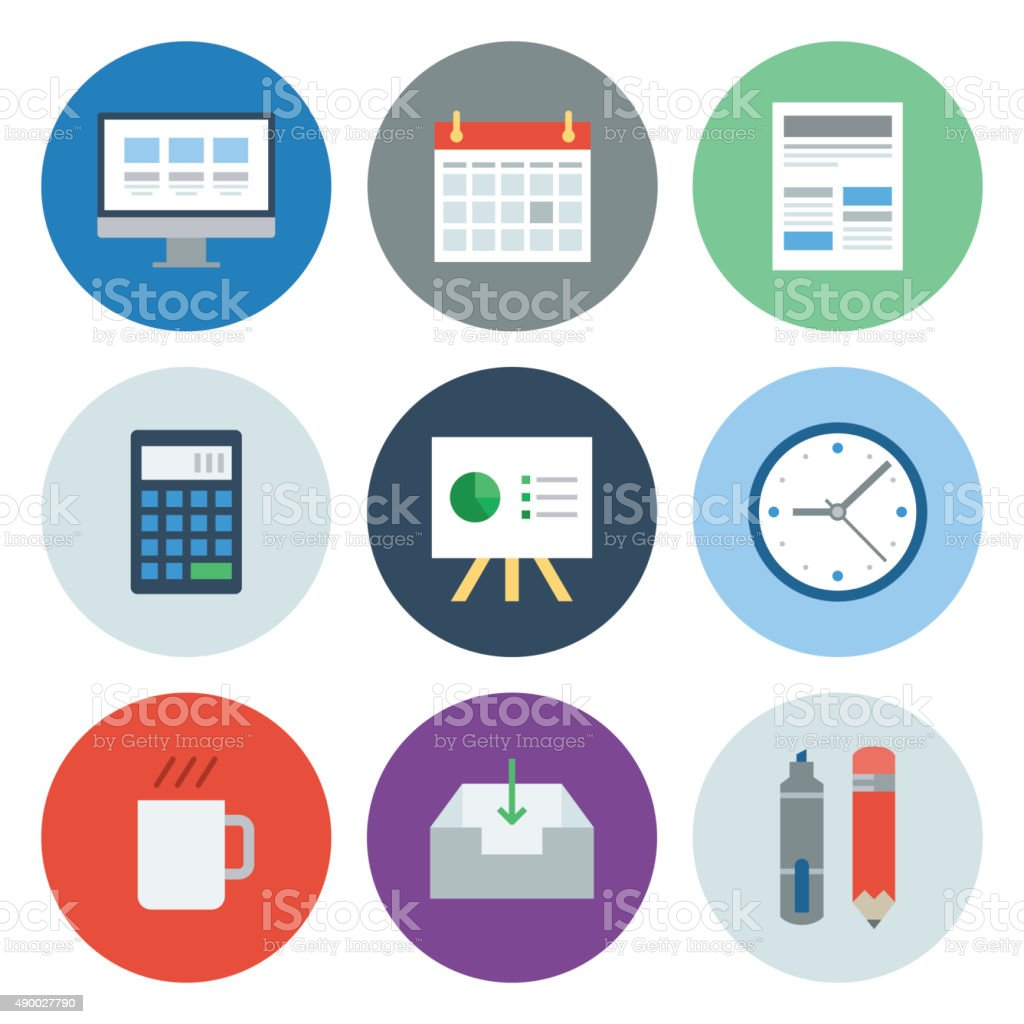 Business Icons — Circle Series vector art illustration