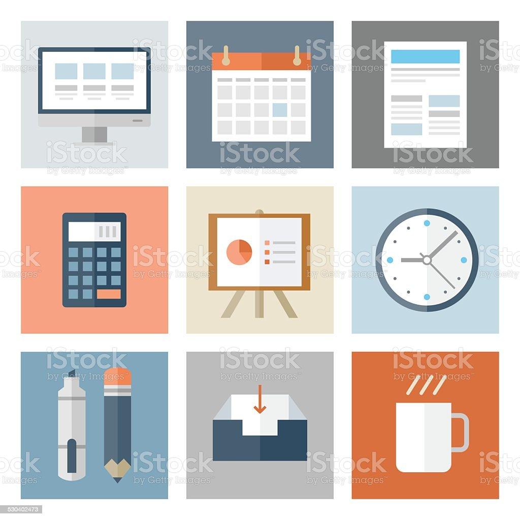 Business Icons — Flat Series vector art illustration