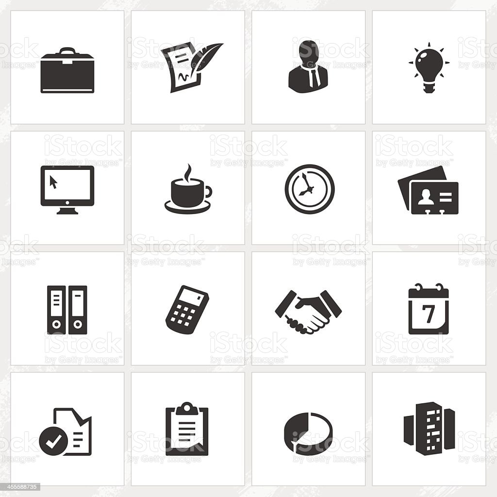 Business icons for black and white royalty-free stock vector art
