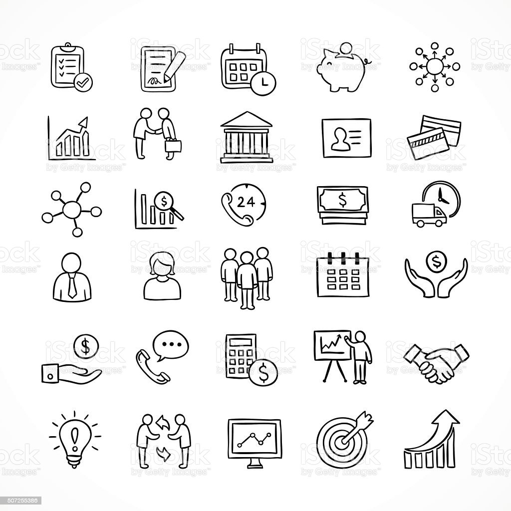 Business icons hand drawn vector set. Office and finance symbols vector art illustration