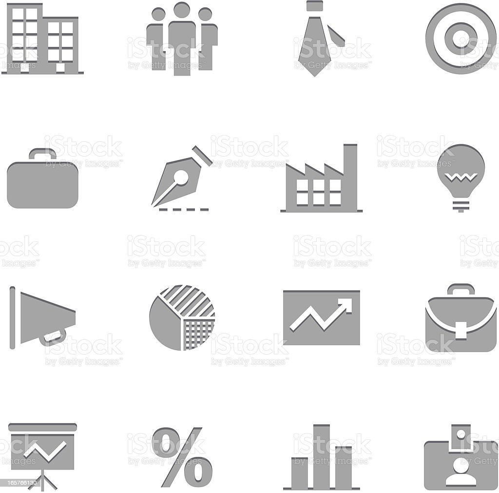 Business Icons | Letterpress Series royalty-free stock vector art