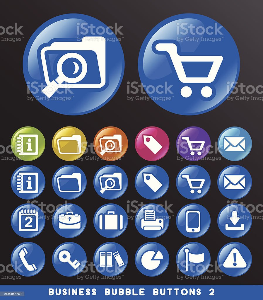 Business Icons on Bubble Buttons. vector art illustration