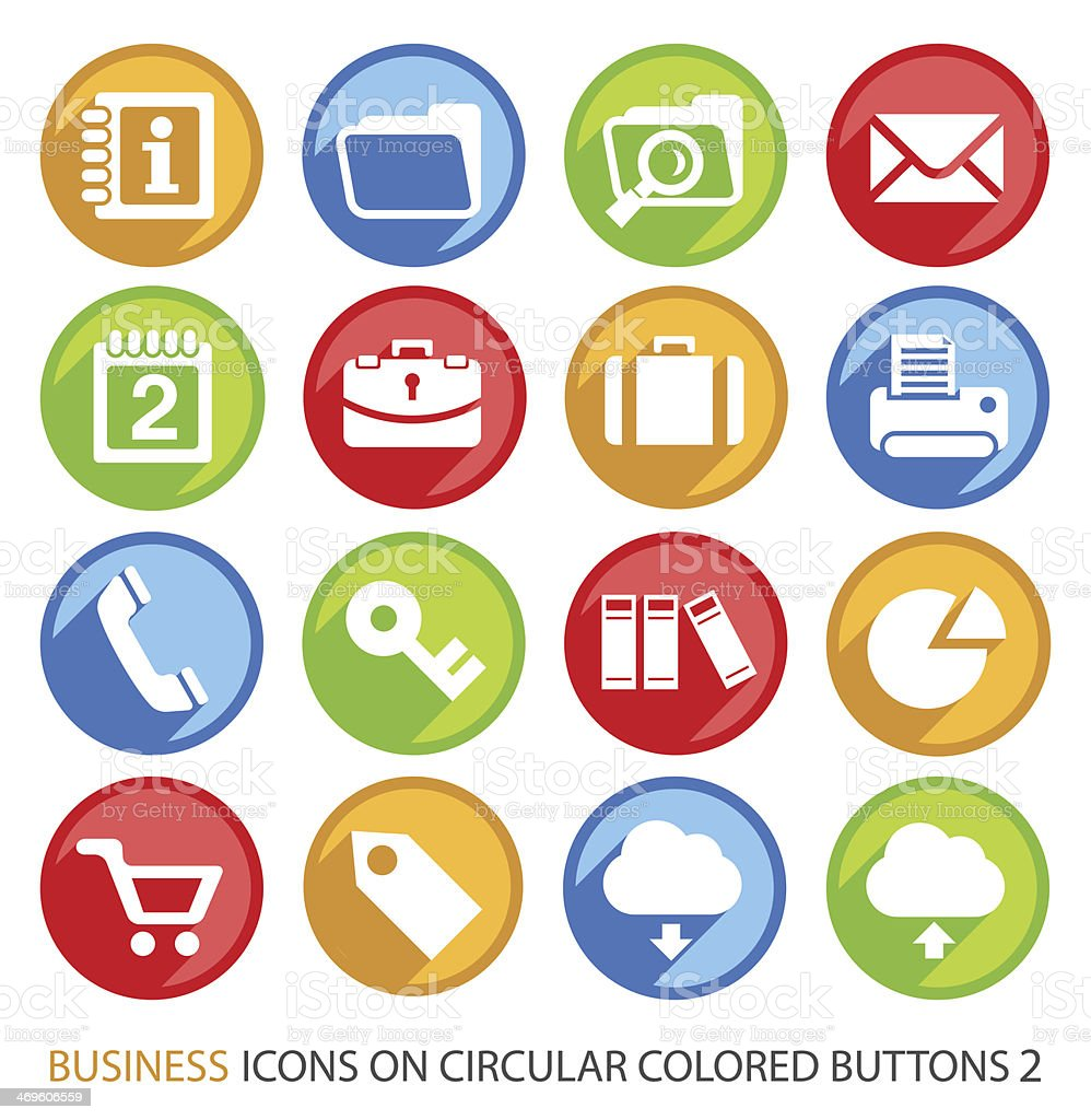Business Icons on Circular Colored Buttons. vector art illustration