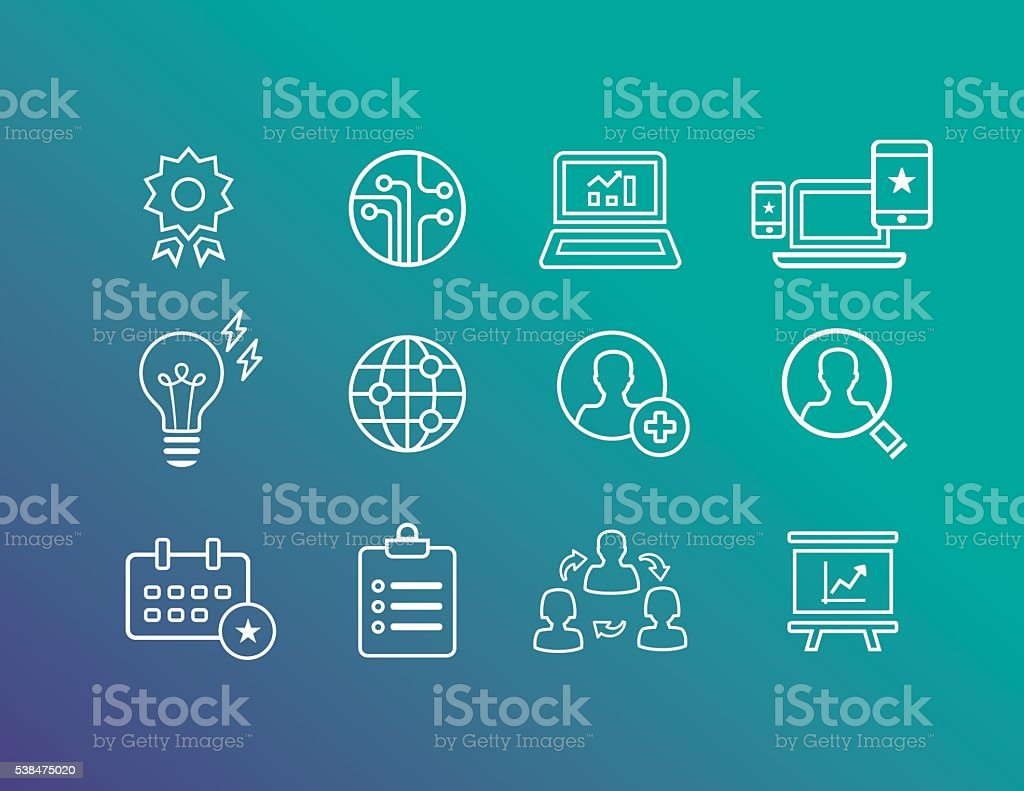 Business Icons Outline vector art illustration