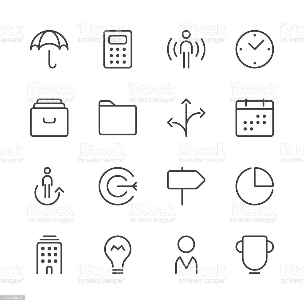 Business icons set 1 | Black Line series vector art illustration