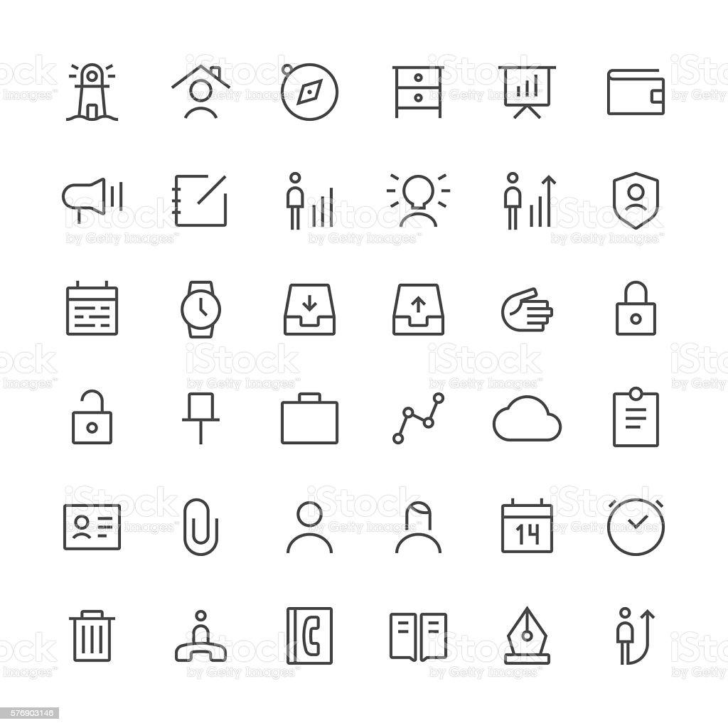 Business icons set 1 | Thin Line series vector art illustration