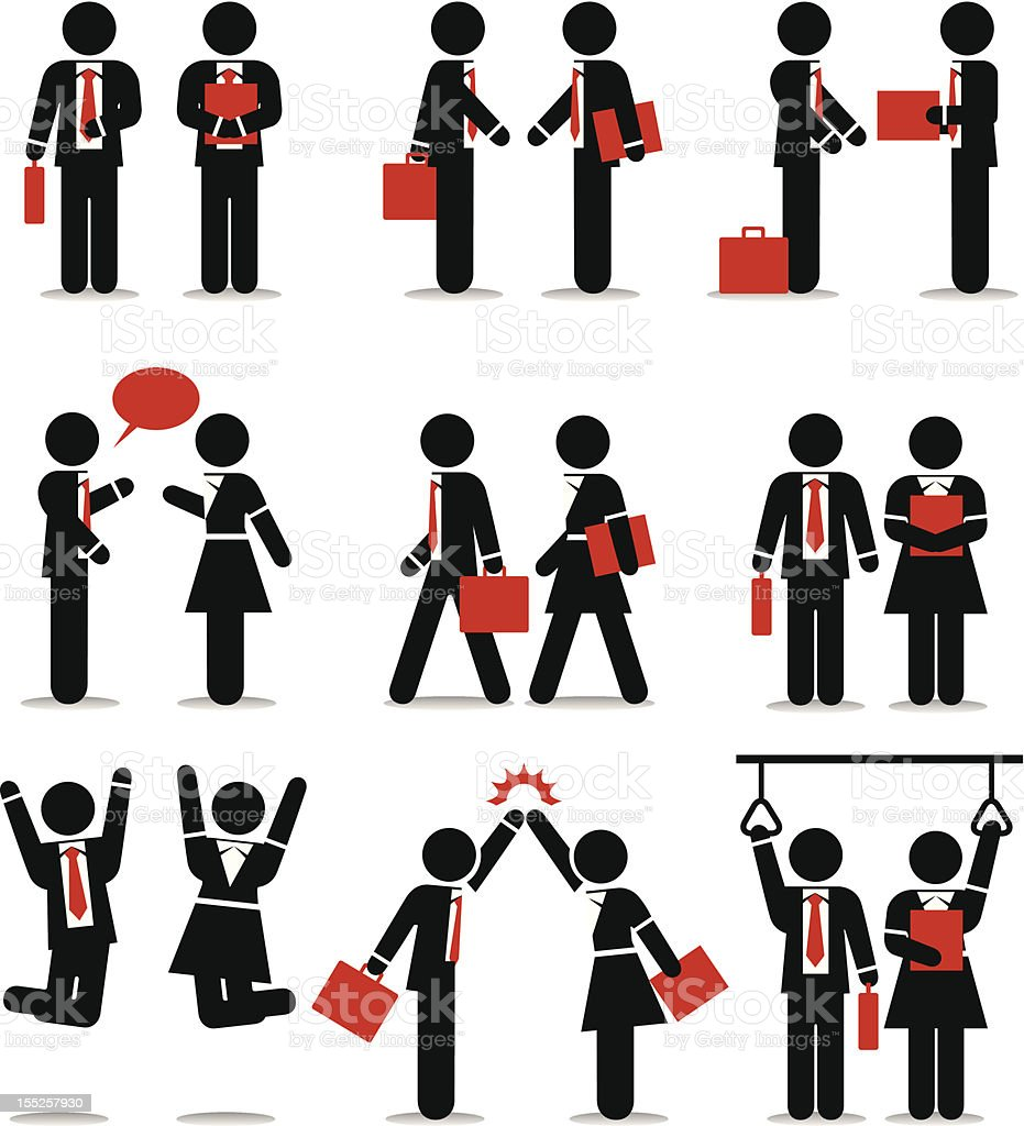 Business Icons Set 1 - Vivid Stick Figure Series vector art illustration