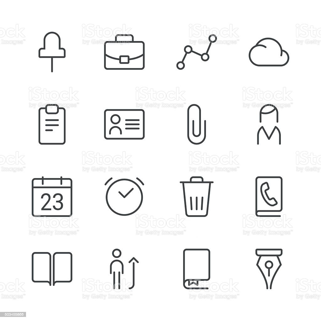 Business icons set 2   Black Line series vector art illustration