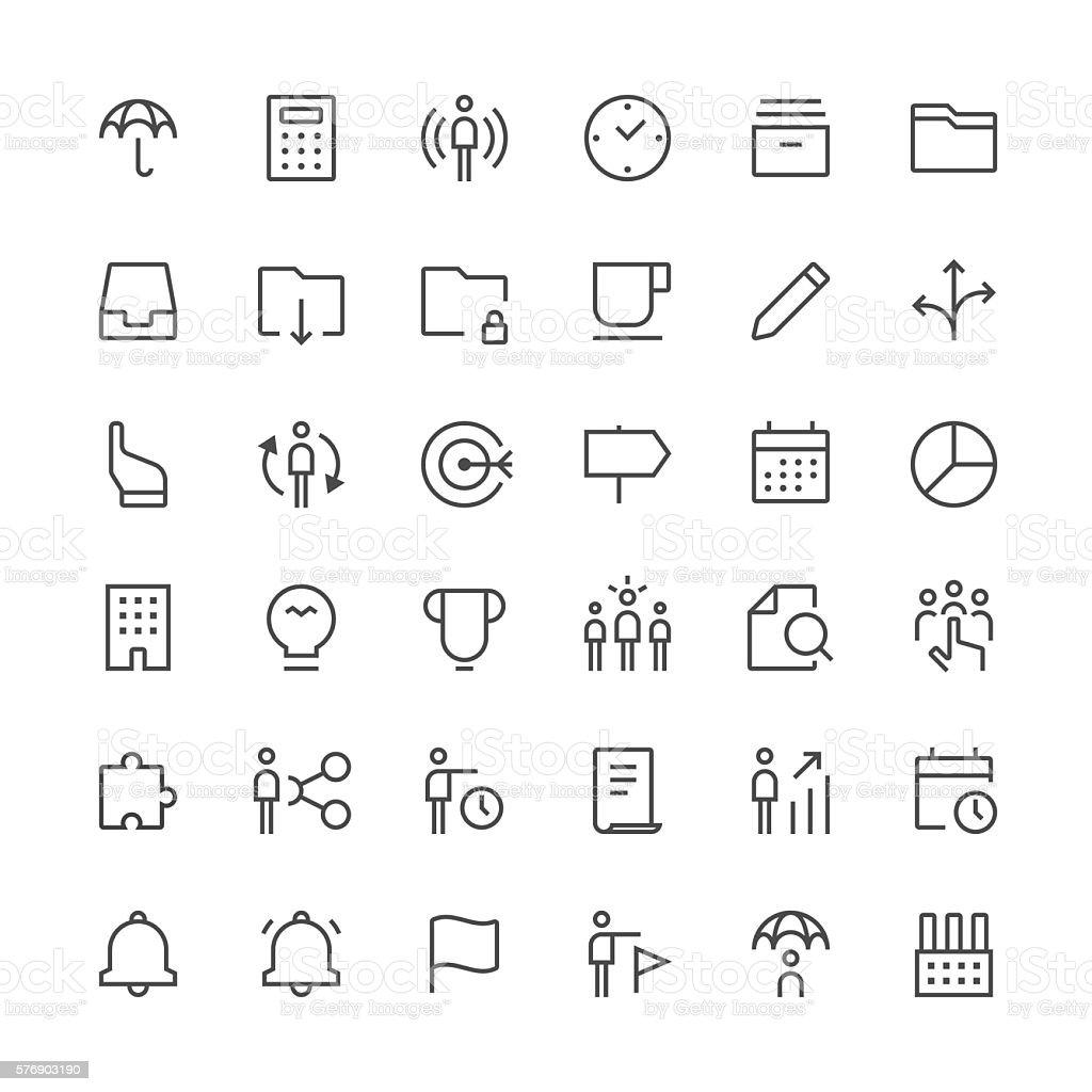 Business icons set 2   Thin Line series vector art illustration