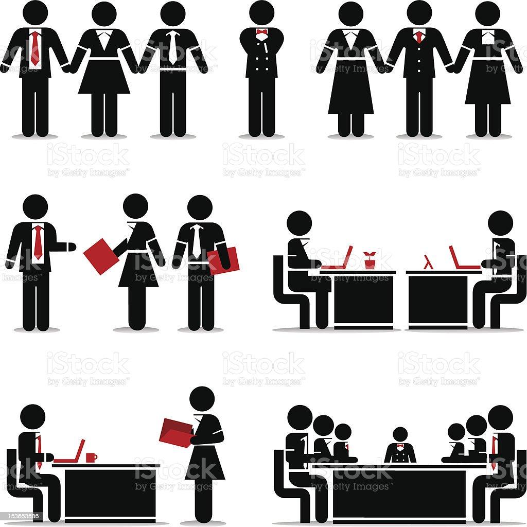 Business Icons Set 2 - Vivid Stick Figure Series vector art illustration