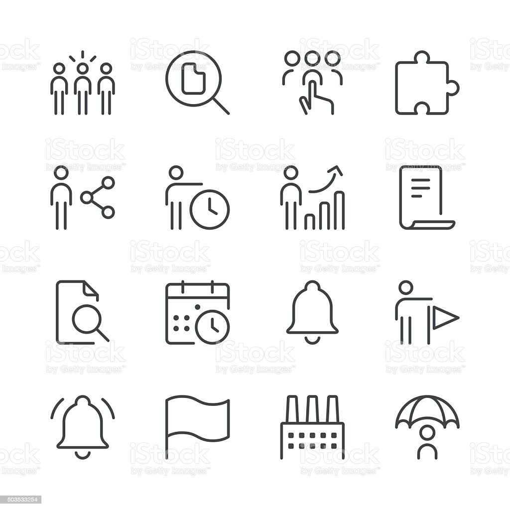 Business icons set 4 | Black Line series vector art illustration