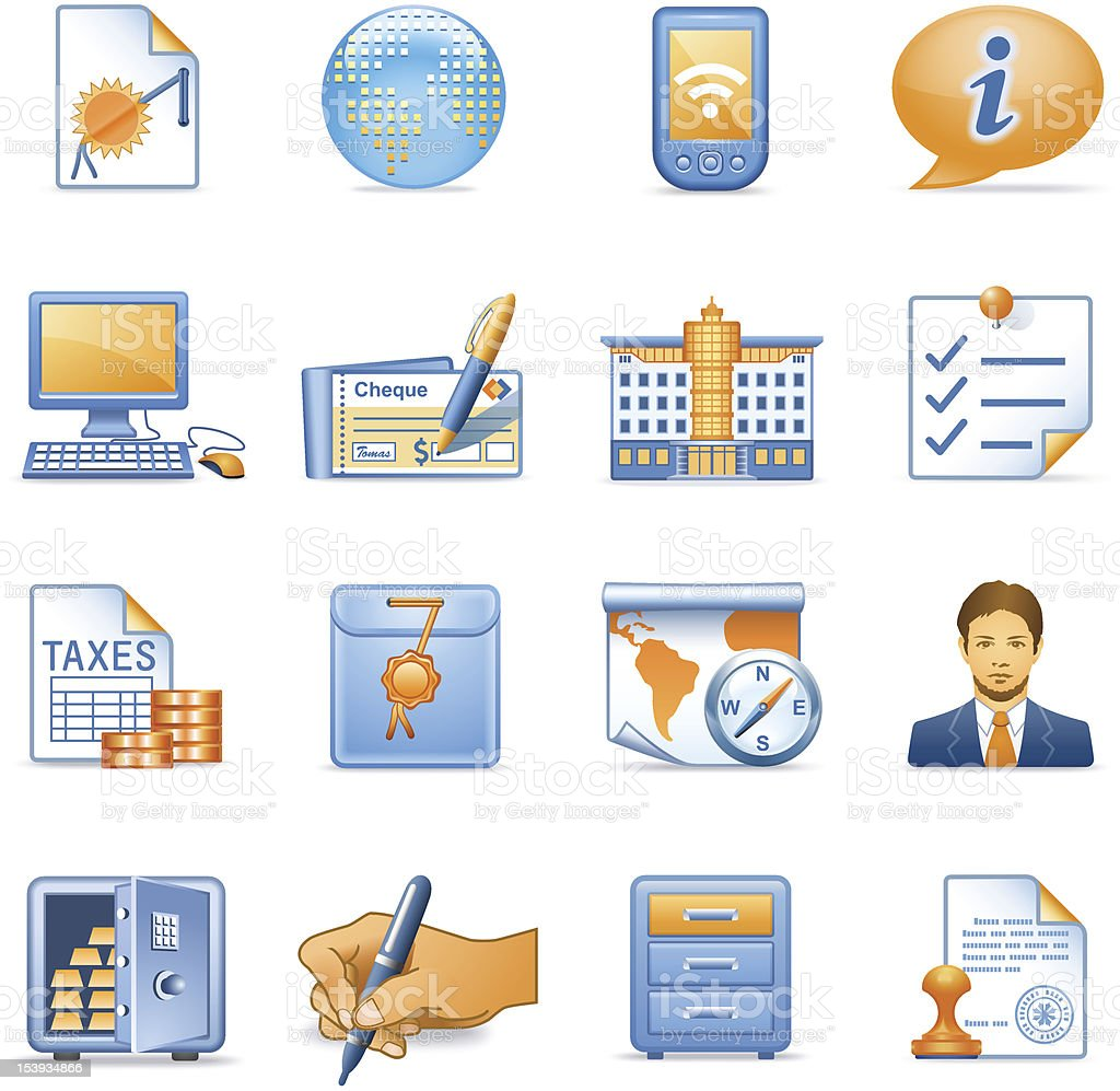 Business icons set 4. Blue orange series. royalty-free stock vector art