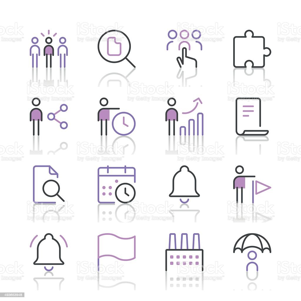 Business icons set 4 | Purple Line series vector art illustration
